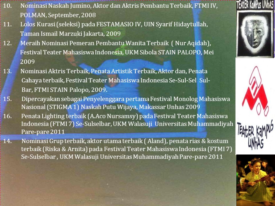 Prestasi Teater Kampus Unhas 1.Juara Umum I pada Festifal Teater Antar Group di Kab. Jeneponto, Sul-Sel 2000. 2.Aktor terbaik (Muhammad Ridwan) dan No