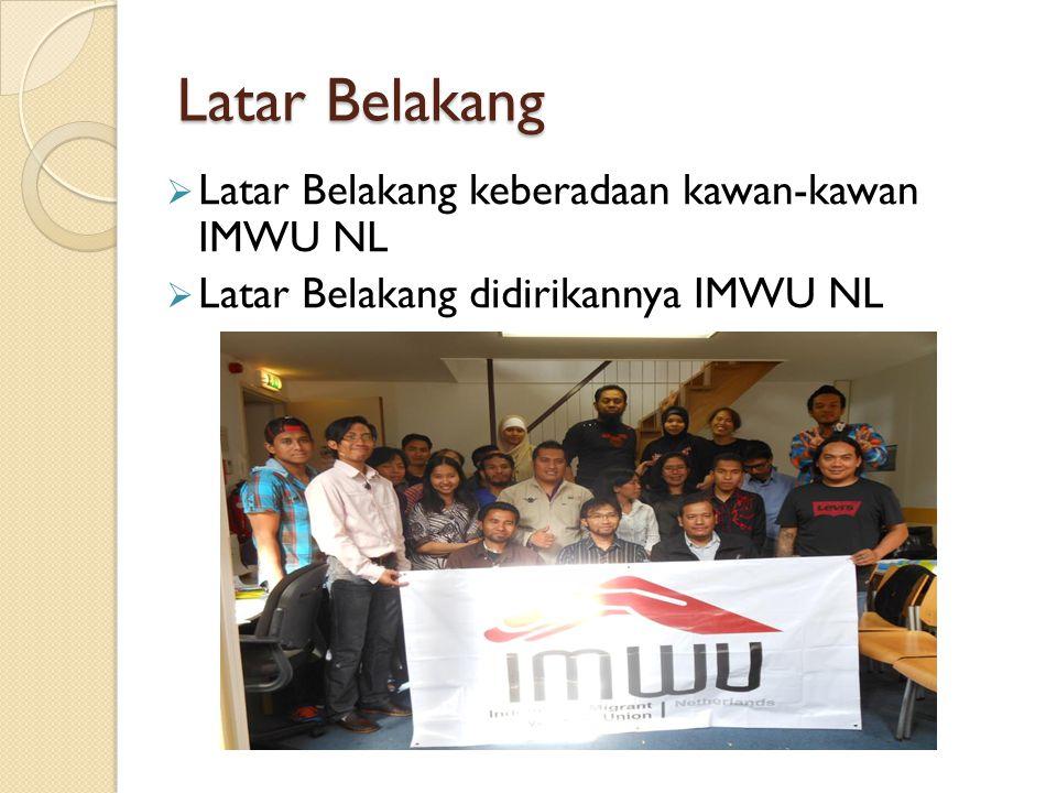 Latar Belakang  Latar Belakang keberadaan kawan-kawan IMWU NL  Latar Belakang didirikannya IMWU NL
