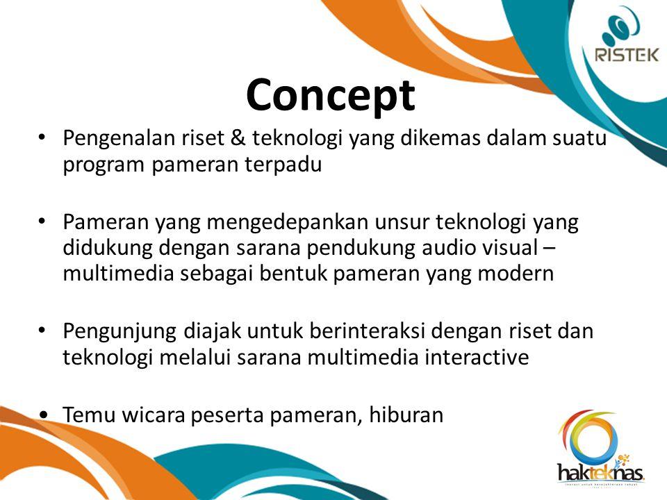 Concept Pengenalan riset & teknologi yang dikemas dalam suatu program pameran terpadu Pameran yang mengedepankan unsur teknologi yang didukung dengan sarana pendukung audio visual – multimedia sebagai bentuk pameran yang modern Pengunjung diajak untuk berinteraksi dengan riset dan teknologi melalui sarana multimedia interactive Temu wicara peserta pameran, hiburan