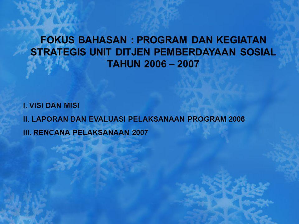 FOKUS BAHASAN : PROGRAM DAN KEGIATAN STRATEGIS UNIT DITJEN PEMBERDAYAAN SOSIAL TAHUN 2006 – 2007 I. VISI DAN MISI II. LAPORAN DAN EVALUASI PELAKSANAAN