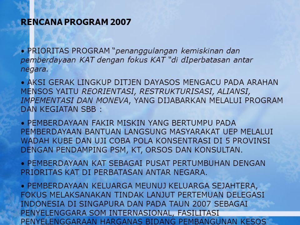 """RENCANA PROGRAM 2007 PRIORITAS PROGRAM """"penanggulangan kemiskinan dan pemberdayaan KAT dengan fokus KAT """"di dIperbatasan antar negara. AKSI GERAK LING"""