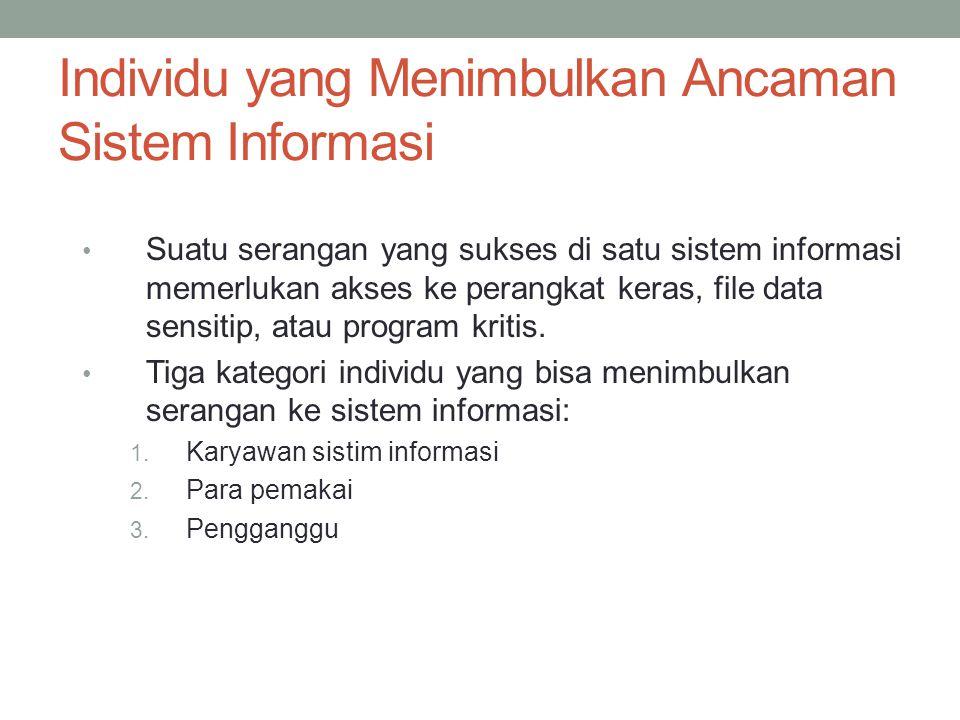 Individu yang Menimbulkan Ancaman Sistem Informasi Suatu serangan yang sukses di satu sistem informasi memerlukan akses ke perangkat keras, file data