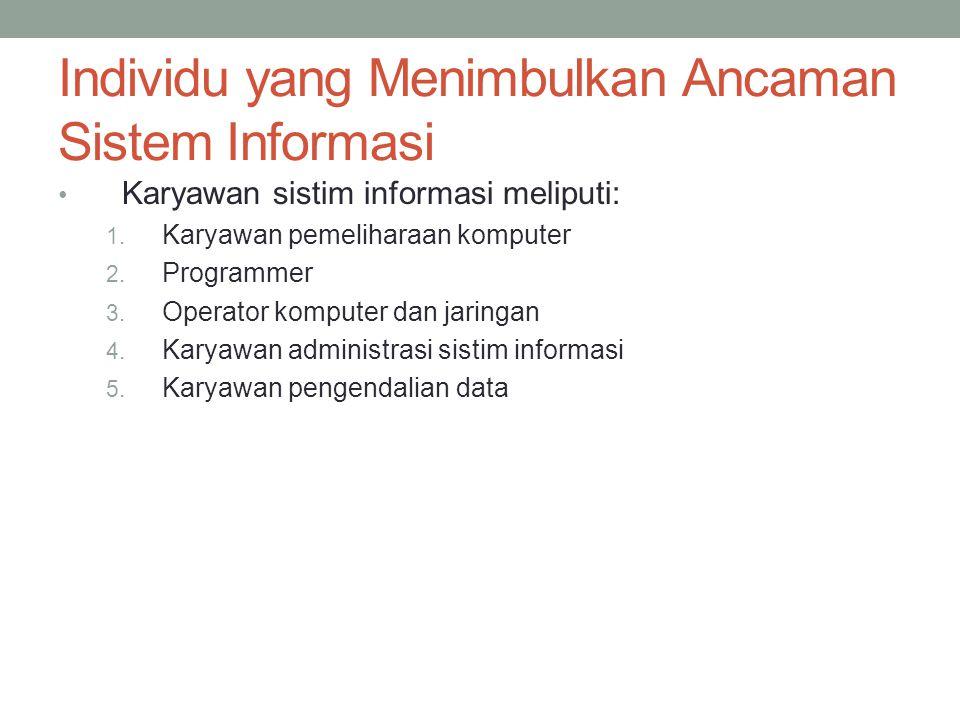 Individu yang Menimbulkan Ancaman Sistem Informasi Karyawan sistim informasi meliputi: 1. Karyawan pemeliharaan komputer 2. Programmer 3. Operator kom