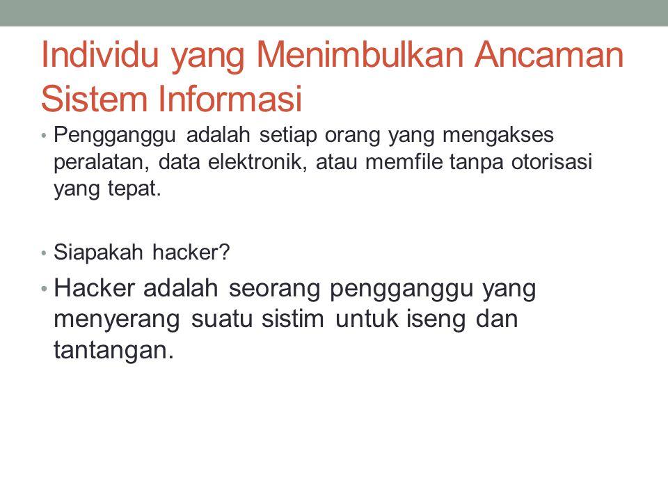Individu yang Menimbulkan Ancaman Sistem Informasi Pengganggu adalah setiap orang yang mengakses peralatan, data elektronik, atau memfile tanpa otoris