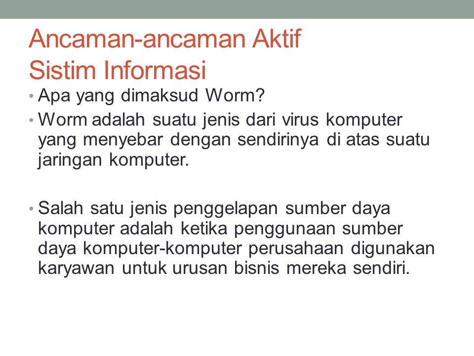 Ancaman-ancaman Aktif Sistim Informasi Apa yang dimaksud Worm? Worm adalah suatu jenis dari virus komputer yang menyebar dengan sendirinya di atas sua