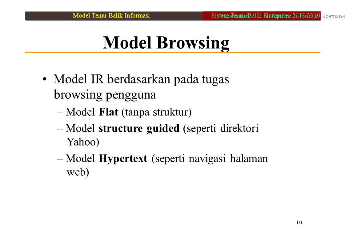 Model Browsing Model IR berdasarkan pada tugas browsing pengguna – Model Flat (tanpa struktur) – Model structure guided (seperti direktori Yahoo) – Mo