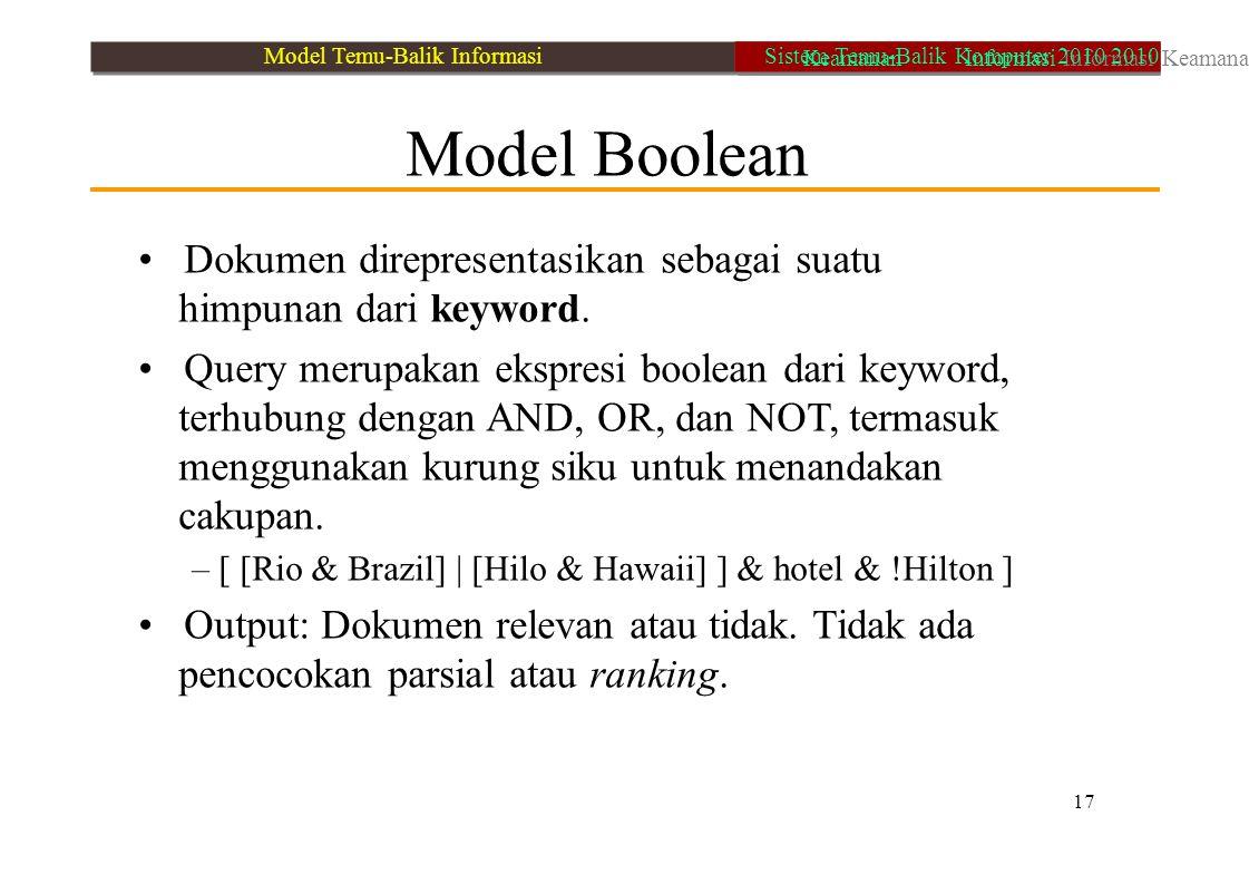 Model Boolean Dokumen direpresentasikan sebagai suatu himpunan dari keyword. Query merupakan ekspresi boolean dari keyword, terhubung dengan AND, OR,