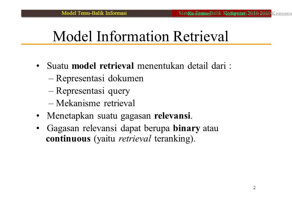 Model Information Retrieval Suatu model retrieval menentukan detail dari : – Representasi dokumen – Representasi query – Mekanisme retrieval Menetapka