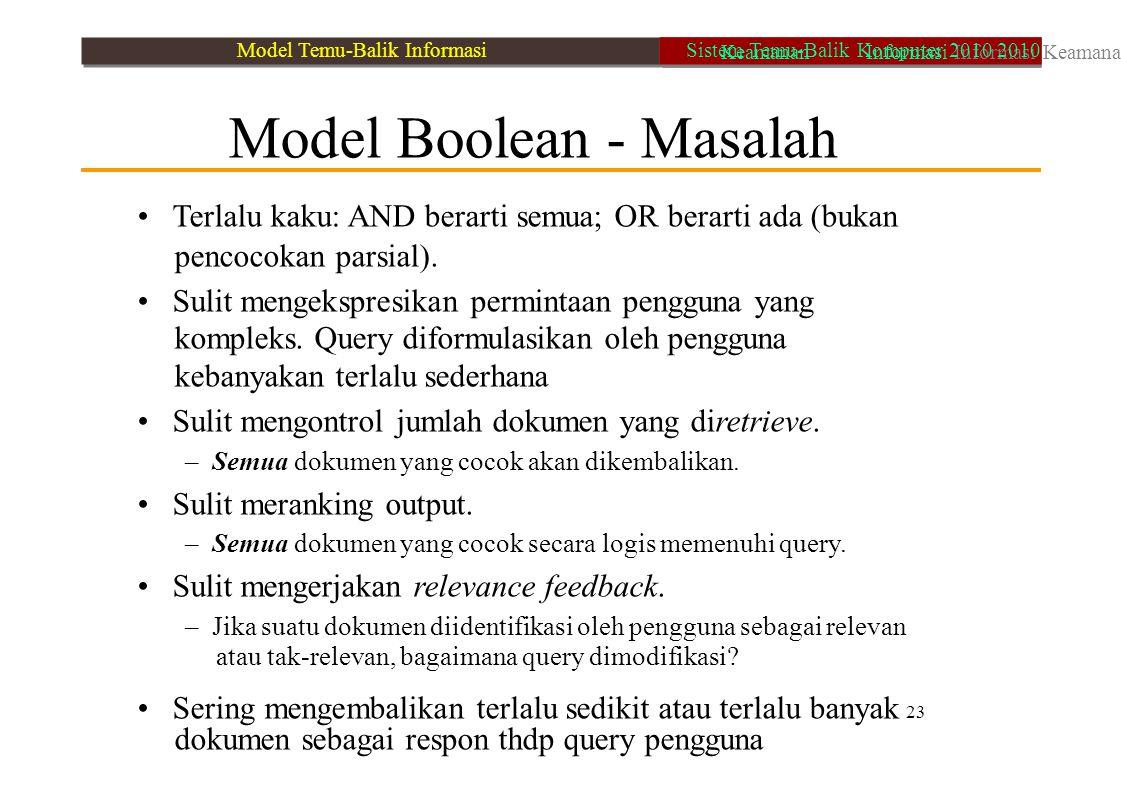 Model Boolean - Masalah Terlalu kaku: AND berarti semua; OR berarti ada (bukan pencocokan parsial). Sulit mengekspresikan permintaan pengguna yang kom