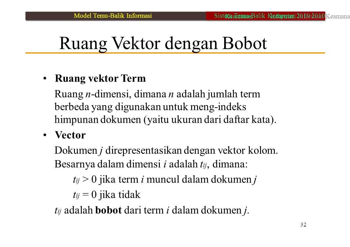 Ruang Vektor dengan Bobot Ruang vektor Term Ruang n-dimensi, dimana n adalah jumlah term berbeda yang digunakan untuk meng-indeks himpunan dokumen (ya