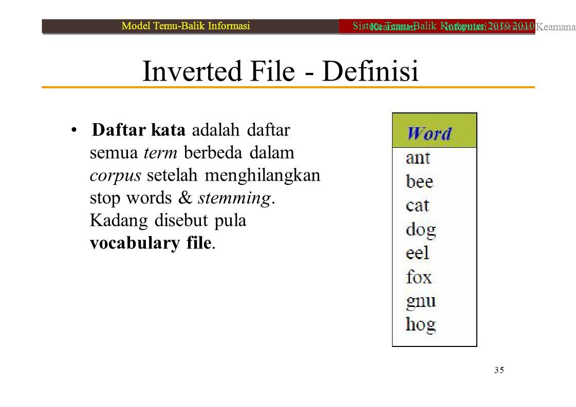 Inverted File - Definisi Daftar kata adalah daftar semua term berbeda dalam corpus setelah menghilangkan stop words & stemming. Kadang disebut pula vo