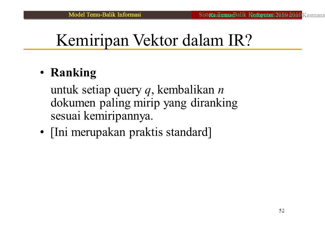 Kemiripan Vektor dalam IR? Ranking untuk setiap query q, kembalikan n dokumen paling mirip yang diranking sesuai kemiripannya. [Ini merupakan praktis