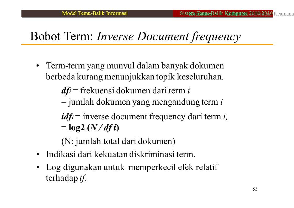 Bobot Term: Inverse Document frequency Term-term yang munvul dalam banyak dokumen berbeda kurang menunjukkan topik keseluruhan. df i = frekuensi dokum