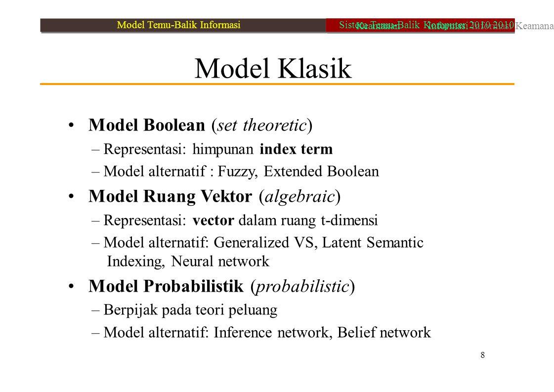 Model Klasik Model Boolean (set theoretic) – Representasi: himpunan index term – Model alternatif : Fuzzy, Extended Boolean Model Ruang Vektor (algebr
