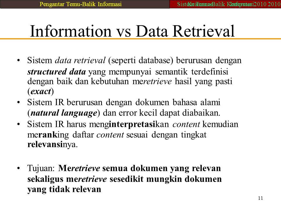 Information vs Data Retrieval Sistem data retrieval (seperti database) berurusan dengan structured data yang mempunyai semantik terdefinisi dengan bai