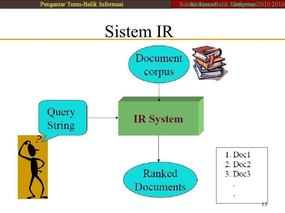 Sistem IR 13 Pengantar Temu-Balik InformasiSistem Temu-Balik Komputer 2010 2010Keamanan Informasi