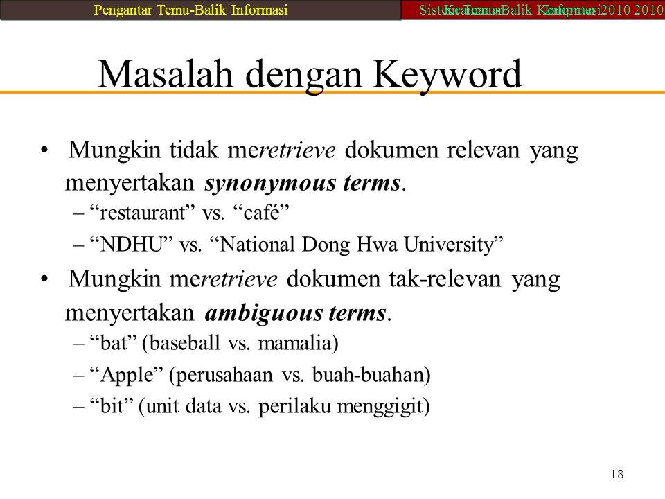 """Masalah dengan Keyword Mungkin tidak meretrieve dokumen relevan yang menyertakan synonymous terms. – """"restaurant"""" vs. """"café"""" – """"NDHU"""" vs. """"National Do"""