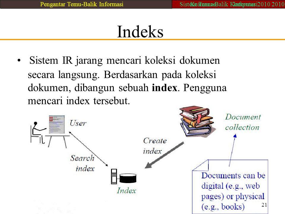 Indeks Sistem IR jarang mencari koleksi dokumen secara langsung. Berdasarkan pada koleksi dokumen, dibangun sebuah index. Pengguna mencari index terse