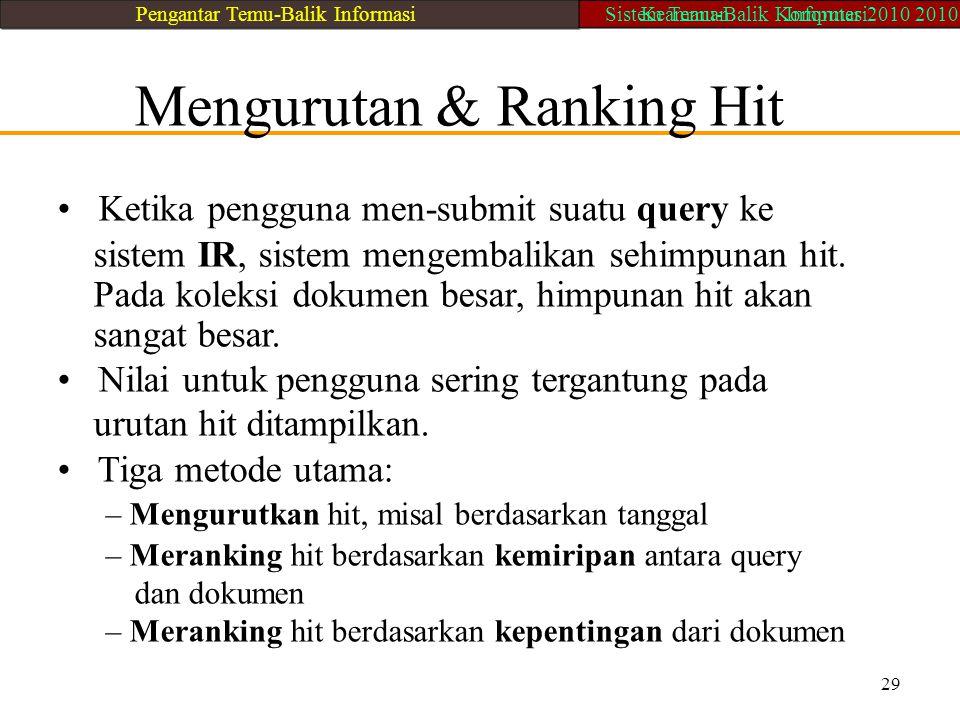 Mengurutan & Ranking Hit Ketika pengguna men-submit suatu query ke sistem IR, sistem mengembalikan sehimpunan hit. Pada koleksi dokumen besar, himpuna