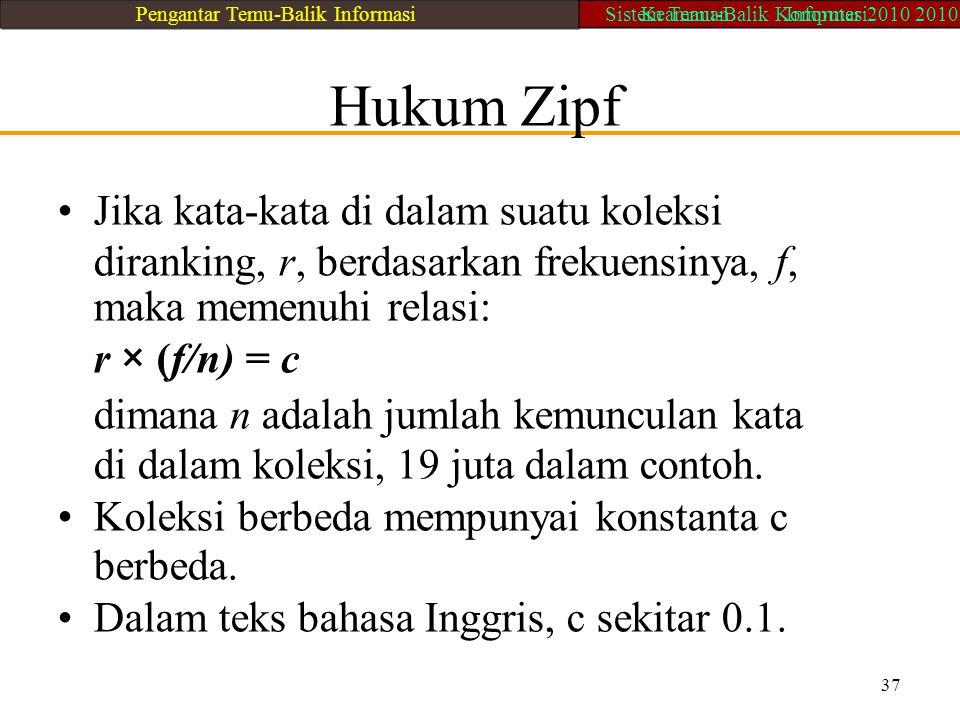 Hukum Zipf Jika kata-kata di dalam suatu koleksi diranking, r, berdasarkan frekuensinya, f, maka memenuhi relasi: r × (f/n) = c dimana n adalah jumlah