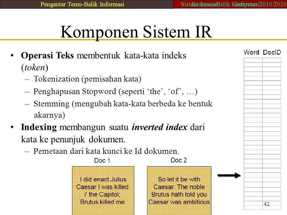 Komponen Sistem IR Operasi Teks membentuk kata-kata indeks (token) – Tokenization (pemisahan kata) – Penghapusan Stopword (seperti 'the', 'of', …) – S
