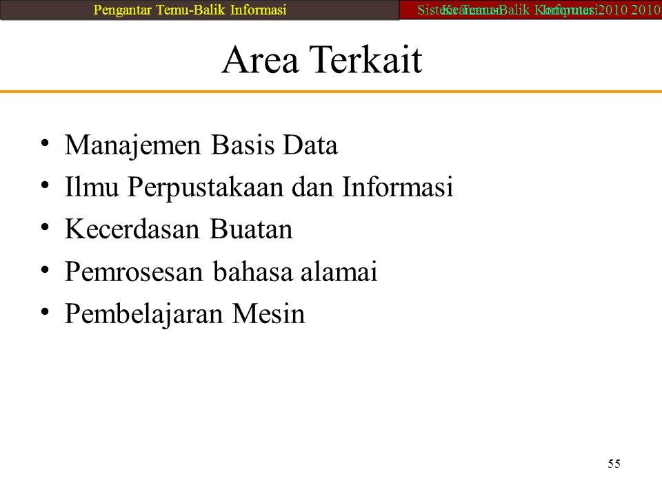 55 Area Terkait Manajemen Basis Data Ilmu Perpustakaan dan Informasi Kecerdasan Buatan Pemrosesan bahasa alamai Pembelajaran Mesin Pengantar Temu-Bali
