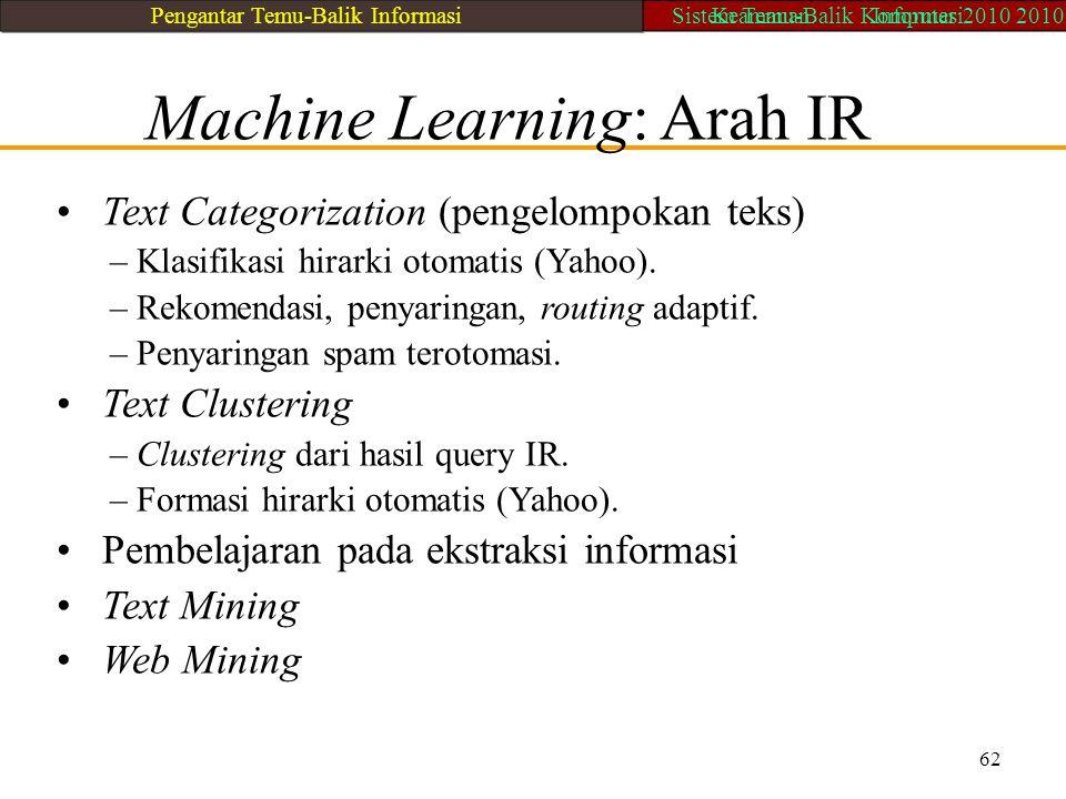 Machine Learning: Arah IR Text Categorization (pengelompokan teks) – Klasifikasi hirarki otomatis (Yahoo). – Rekomendasi, penyaringan, routing adaptif