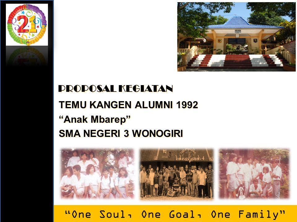 "TEMU KANGEN ALUMNI 1992 ""Anak Mbarep"" SMA NEGERI 3 WONOGIRI ""One Soul, One Goal, One Family"" PROPOSAL KEGIATAN"