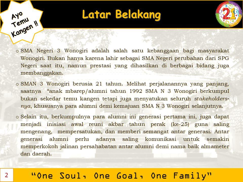 """Latar Belakang """"One Soul, One Goal, One Family"""" AyoTemu Kangen ! Kangen !! o SMA Negeri 3 Wonogiri adalah salah satu kebanggaan bagi masyarakat Wonogi"""