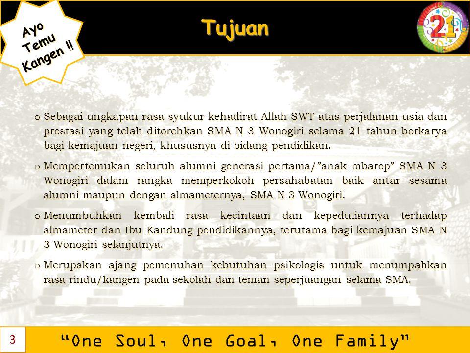 """Tujuan """"One Soul, One Goal, One Family"""" AyoTemu Kangen ! Kangen !! o Sebagai ungkapan rasa syukur kehadirat Allah SWT atas perjalanan usia dan prestas"""