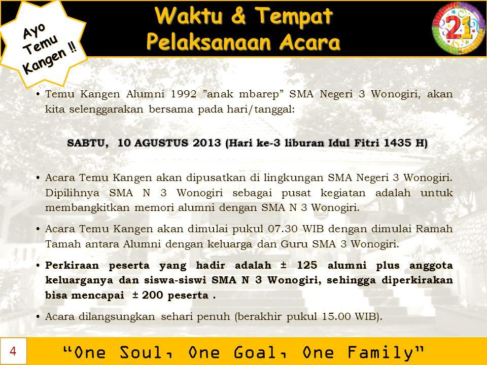 "Waktu & Tempat Pelaksanaan Acara ""One Soul, One Goal, One Family"" AyoTemu Kangen ! Kangen !! Temu Kangen Alumni 1992 ""anak mbarep"" SMA Negeri 3 Wonogi"