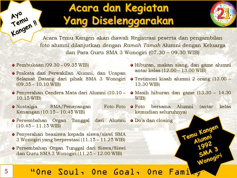 """Acara dan Kegiatan Yang Diselenggarakan """"One Soul, One Goal, One Family"""" AyoTemu Kangen ! Kangen !! Pembukaan (09.30 – 09.35 WIB) Prakata dari Perwaki"""