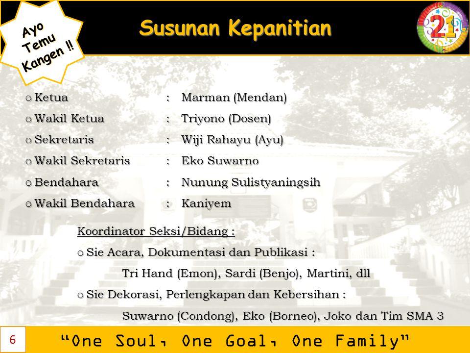 """Susunan Kepanitian """"One Soul, One Goal, One Family"""" AyoTemu Kangen ! Kangen !! 6 o Ketua: Marman (Mendan) o Wakil Ketua: Triyono (Dosen) o Sekretaris:"""