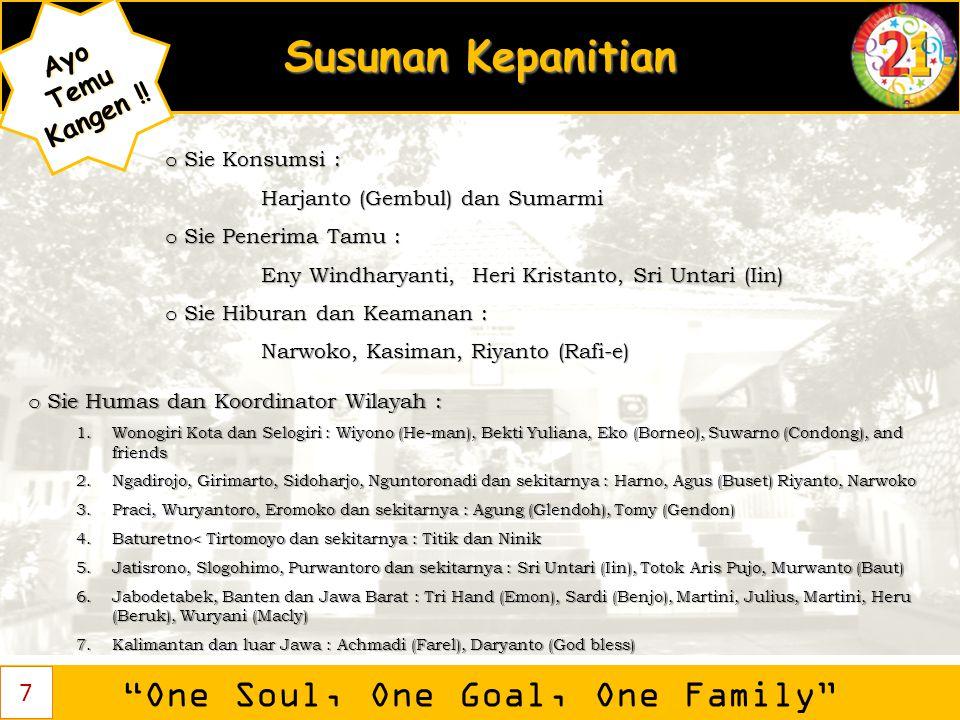 """Susunan Kepanitian """"One Soul, One Goal, One Family"""" AyoTemu Kangen ! Kangen !! 7 o Sie Konsumsi : Harjanto (Gembul) dan Sumarmi Harjanto (Gembul) dan"""