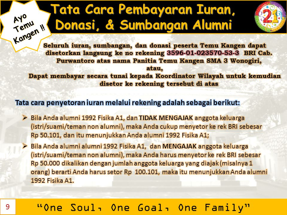 """Tata Cara Pembayaran Iuran, Donasi, & Sumbangan Alumni """"One Soul, One Goal, One Family"""" AyoTemu Kangen ! Kangen !! 9"""