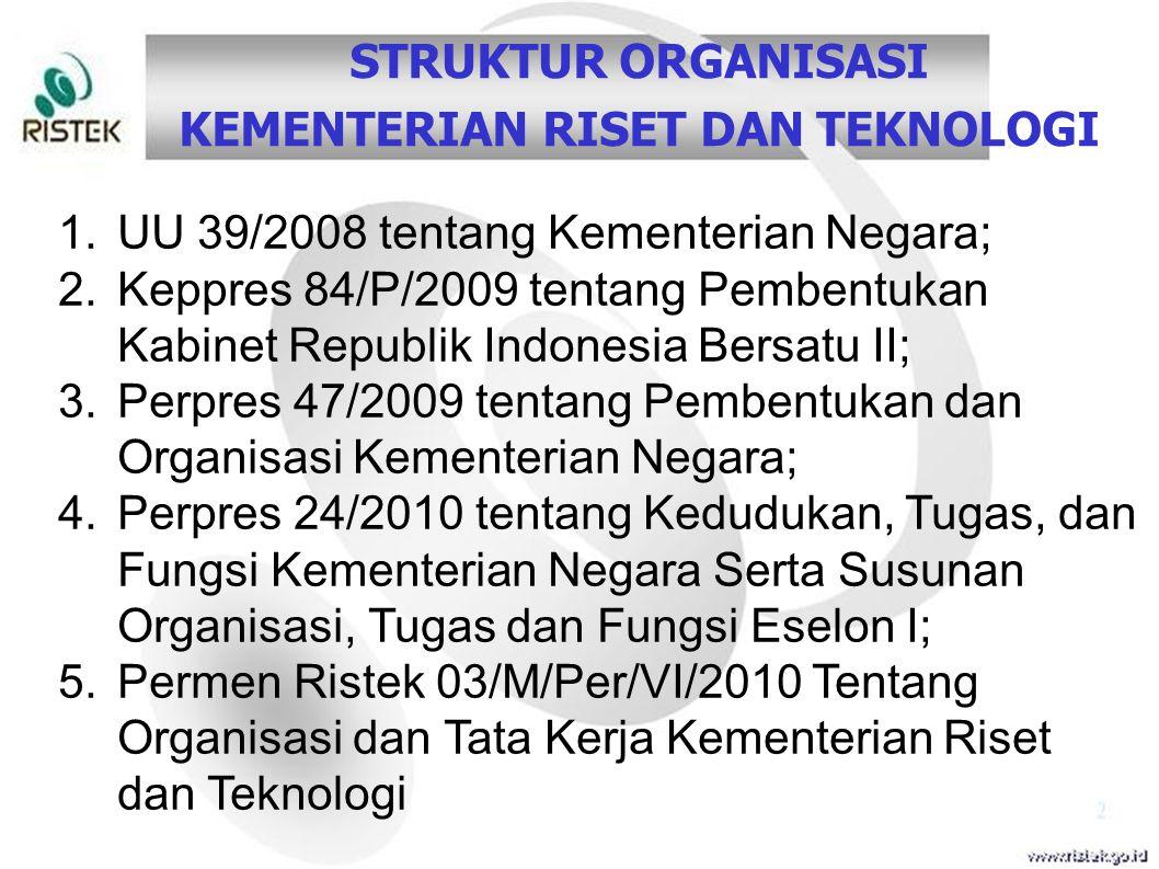 1.UU 39/2008 tentang Kementerian Negara; 2.Keppres 84/P/2009 tentang Pembentukan Kabinet Republik Indonesia Bersatu II; 3.Perpres 47/2009 tentang Pemb