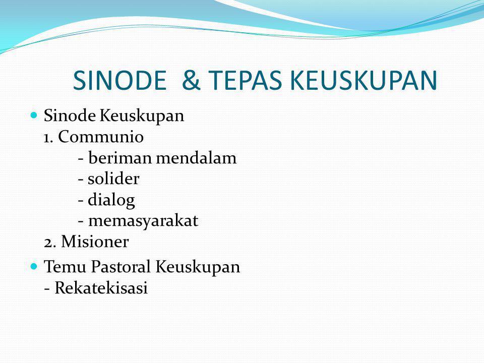 SINODE & TEPAS KEUSKUPAN Sinode Keuskupan 1. Communio - beriman mendalam - solider - dialog - memasyarakat 2. Misioner Temu Pastoral Keuskupan - Rekat