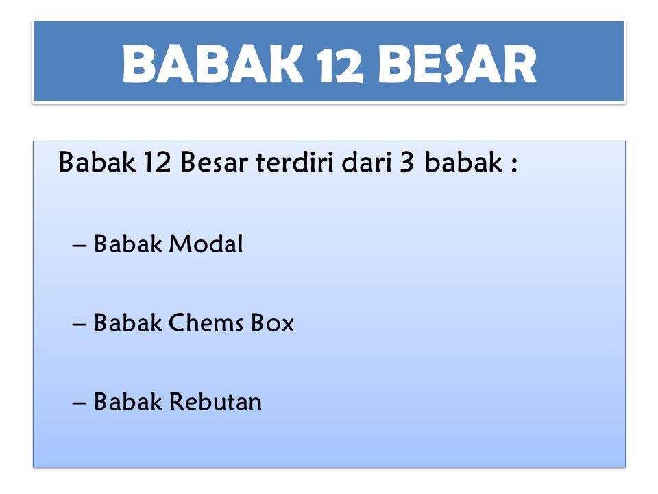 BABAK 12 BESAR Babak 12 Besar terdiri dari 3 babak : – Babak Modal – Babak Chems Box – Babak Rebutan Babak 12 Besar terdiri dari 3 babak : – Babak Mod