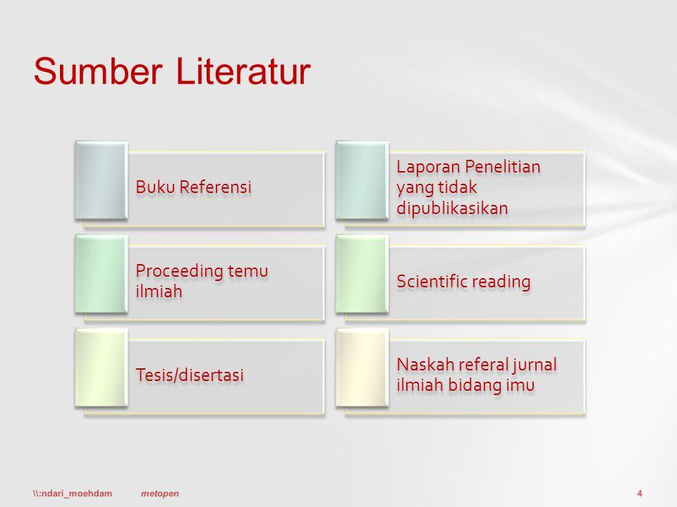 Buku Referensi Laporan Penelitian yang tidak dipublikasikan Proceeding temu ilmiah Scientific reading Tesis/disertasi Naskah referal jurnal ilmiah bid