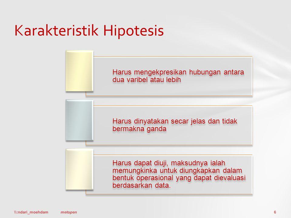 Karakteristik Hipotesis \\:ndari_moehdam6metopen Harus mengekpresikan hubungan antara dua varibel atau lebih Harus dinyatakan secar jelas dan tidak be