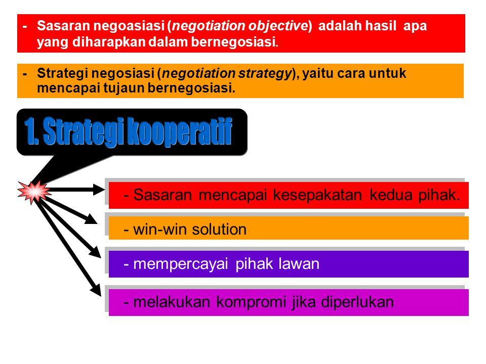 -Sasaran negoasiasi (negotiation objective) adalah hasil apa yang diharapkan dalam bernegosiasi.