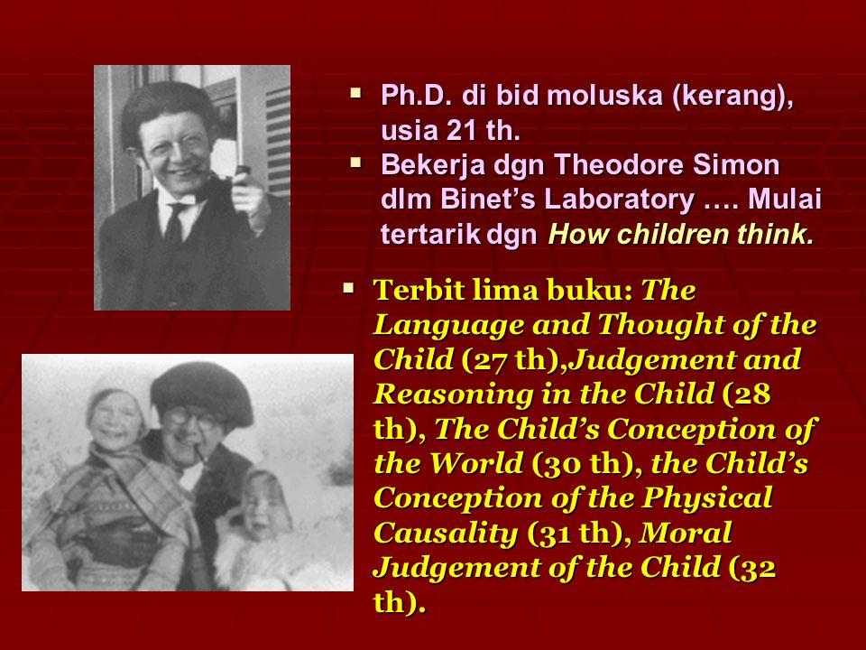  Ph.D. di bid moluska (kerang), usia 21 th.  Bekerja dgn Theodore Simon dlm Binet's Laboratory …. Mulai tertarik dgn How children think.  Terbit li