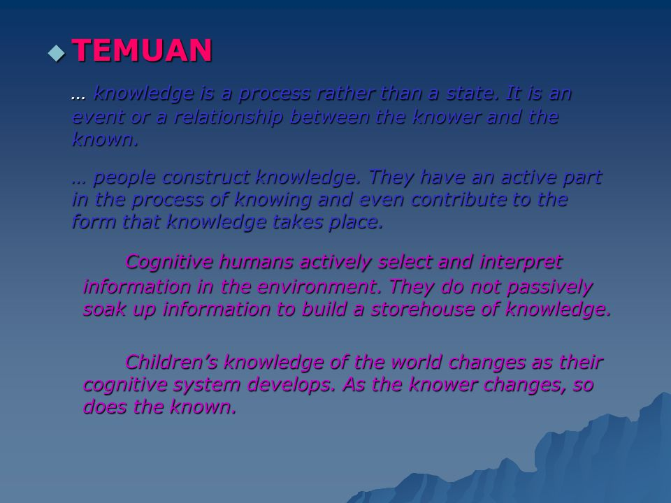  TEMUAN … knowledge is a process rather than a state. It is an event or a relationship between the knower and the known. … people construct knowledge
