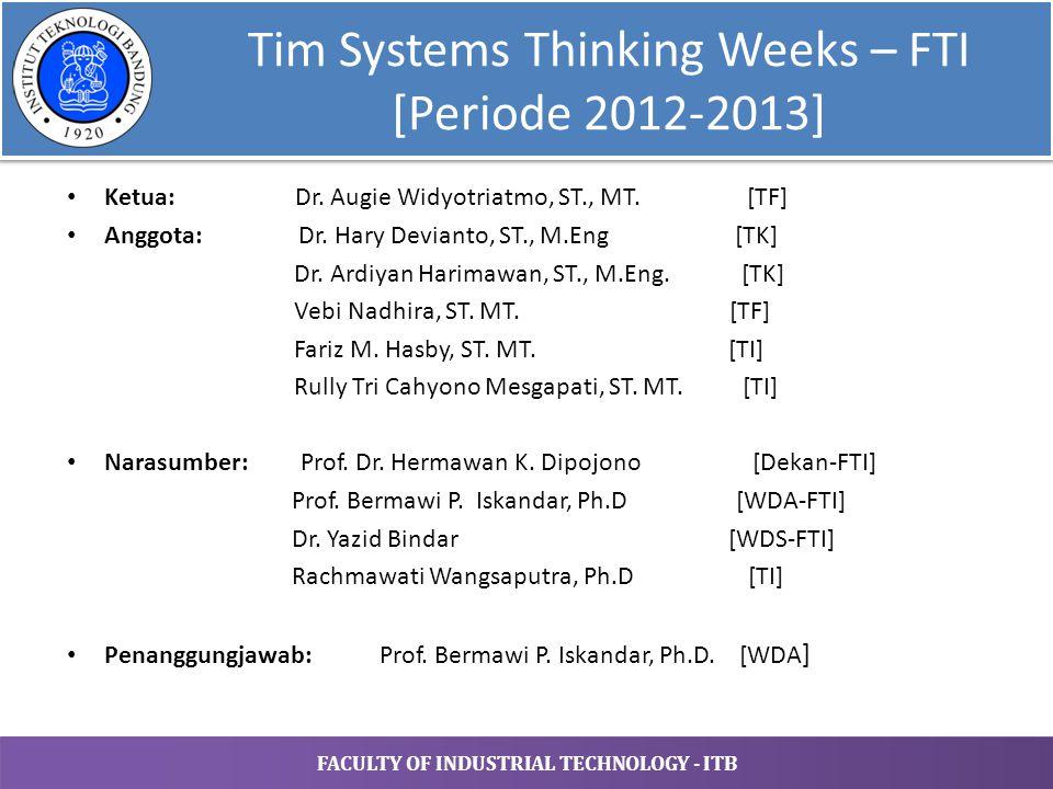 FACULTY OF INDUSTRIAL TECHNOLOGY - ITB Tim Proyek Rekayasa Interdisiplin – FTI [Periode 2013-…] Ketua: Dr.