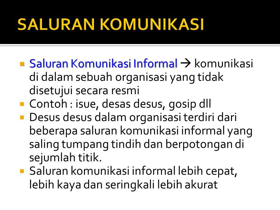  Saluran Komunikasi Informal  Saluran Komunikasi Informal  komunikasi di dalam sebuah organisasi yang tidak disetujui secara resmi  Contoh : isue,