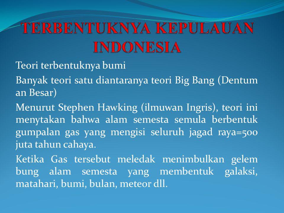 Teori terbentuknya bumi Banyak teori satu diantaranya teori Big Bang (Dentum an Besar) Menurut Stephen Hawking (ilmuwan Ingris), teori ini menytakan b