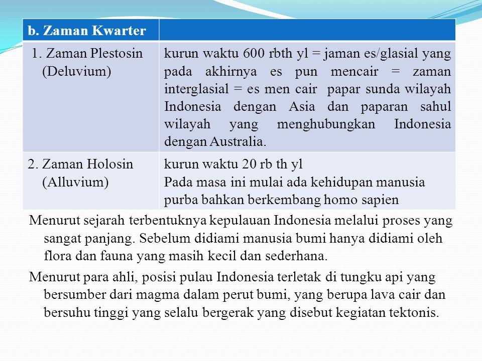 Menurut sejarah terbentuknya kepulauan Indonesia melalui proses yang sangat panjang. Sebelum didiami manusia bumi hanya didiami oleh flora dan fauna y