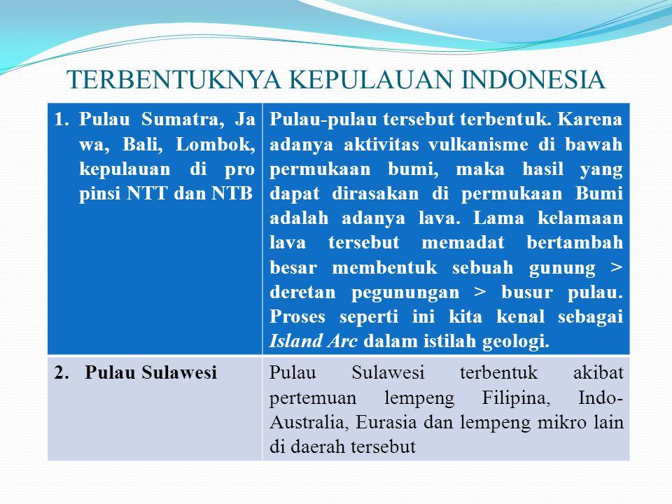 TERBENTUKNYA KEPULAUAN INDONESIA 1.Pulau Sumatra, Ja wa, Bali, Lombok, kepulauan di pro pinsi NTT dan NTB Pulau-pulau tersebut terbentuk. Karena adany