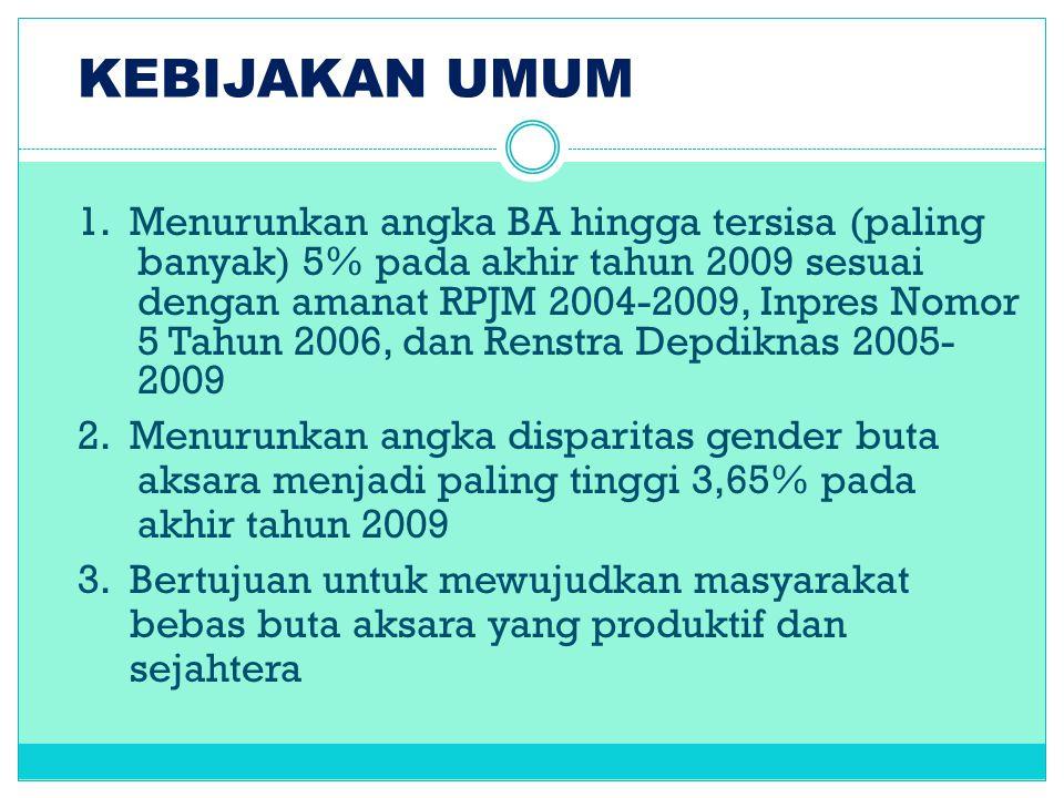 KEBIJAKAN UMUM 1. Menurunkan angka BA hingga tersisa (paling banyak) 5% pada akhir tahun 2009 sesuai dengan amanat RPJM 2004-2009, Inpres Nomor 5 Tahu