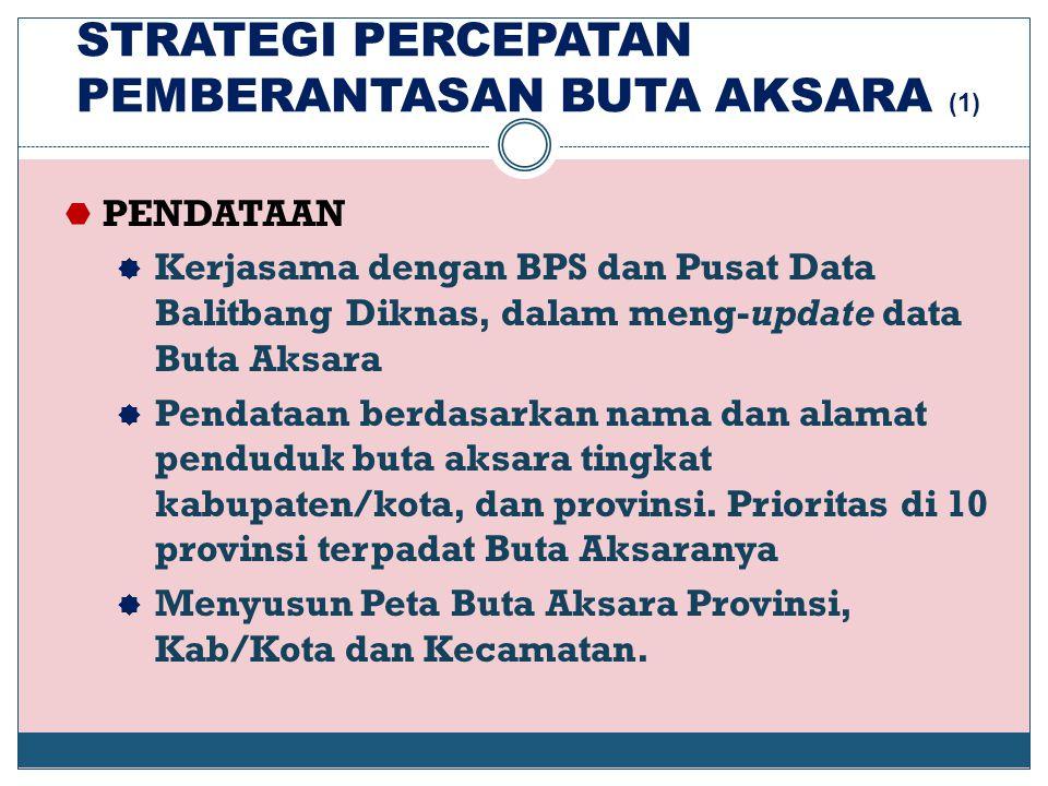 STRATEGI PERCEPATAN PEMBERANTASAN BUTA AKSARA (1)  PENDATAAN  Kerjasama dengan BPS dan Pusat Data Balitbang Diknas, dalam meng-update data Buta Aksa